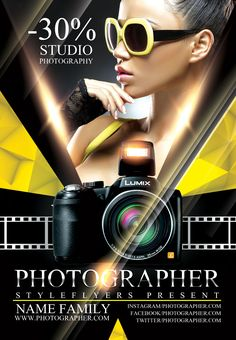 Download this modern and catcy flyer for your photo service promotion!