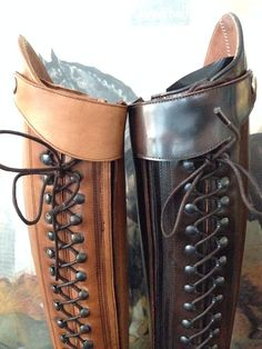 Bia dressage boot on the right in polished brown and on the left in the soft leather version in claro (light tan).
