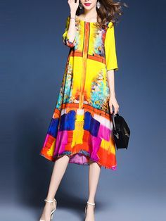 Colorful Round Neck Side Slit Printed Maxi Dress-Berrylook