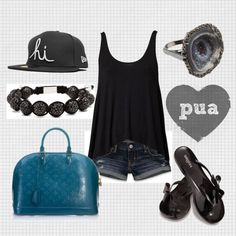 black & white with a pop of teal, created by pua-ting on Polyvore