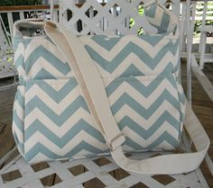 Village Blue and Natural  Chevron Diaper Bag  with Top Zipper Closure or Made with a  Fabric of your choice on Etsy, $130.00