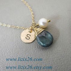 Personalized Necklace Wire Wrapped Gemstone Necklace by lizix26, $35.00