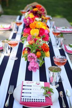 Black and White Stripe with Bright Flowers - Love!