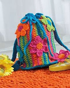 Free Crochet Pattern: Flower Power Drawstring Bag