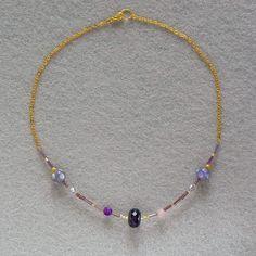 bijoux bleuluciole little market collier violet ras du cou perles