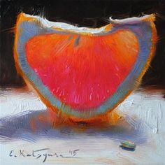 "Daily Paintworks - ""February Grapefruit"" - Original Fine Art for Sale - © Elena Katsyura"