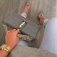 Valentino Rockstud bag and heels