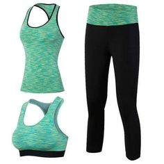 Suit Sport Top Green Yoga Set
