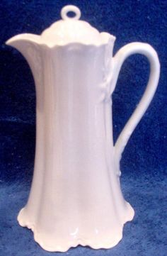 French Haviland Limoges All White Ranson Chocolate Pot c 1888 to 1896