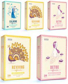 Beautiful tea packaging by English illustrator/cartoonist Stuart Kolakovic