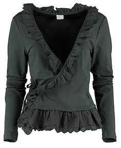 romantic black jersey & lace wrap cardigan <3