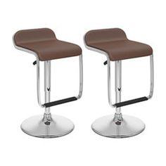 CorLiving Brown Leatherette Curved Adjustable Bar Stools, Set of 2