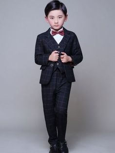 Color Block Plaids Turn-down Collar Long Sleeves T-shirt&Coat&Vest&Pants&Tie