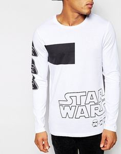 Enlarge ASOS Longline Long Sleeve T-Shirt With Star Wars Print And Stepped Hem