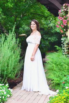 Off the Shoulder Lace Top Wedding Dress, Flowy Wedding Dress