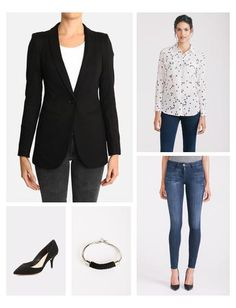 Nothing easier than a printed silk button-up, jeans, and a chic blazer.