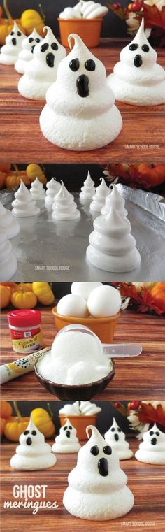 Meringues Ghost Meringues for Halloween! Only 3 ingredients and so easy to make.Ghost Meringues for Halloween! Only 3 ingredients and so easy to make. Halloween Desserts, Postres Halloween, Soirée Halloween, Halloween Party Treats, Hallowen Food, Snacks Für Party, Holidays Halloween, Holiday Treats, Halloween Recipe