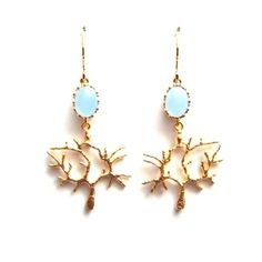 Blue Chalcedony with Vermeil Filigree Dangle Earrings | Only available at Peyton William. www.peytonwilliam.com