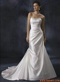 Clássico Strapless Natural cintura de uma linha de vestido de tafetá