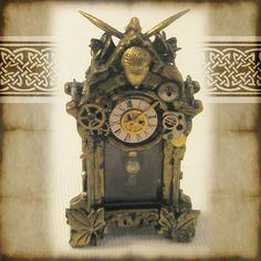 Steampunk Clock, altered ooak dollhouse miniature