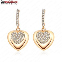 Hot Sell 18K Rose Gold Plate Austrian Crystal Heart Shape Earrings Studs Earring 26*15mm ES-HQ0034