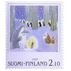 Postimerkki: Muumeja - Tove Jansson, Taikatalvi | Suomen postimerkit Tove Jansson, Finland, Stamps, Paper, Winter, Decor, Seals, Winter Time, Decoration