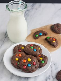 Soft and Chewy Double Chocolate M and M Cookies