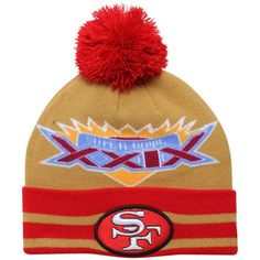 288488c76 Mens   Womens San Francisco New Era Super Bowl XXIX Commemorative Super  Wide Point Knit Beanie Hat - Scarlet   Gold