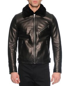 Leather Jacket with Shearling Collar, Black
