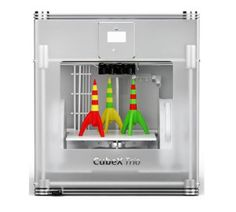 The CubeX Trio is Cubify's flagship desktop 3D printer. It's big, it's beautiful and has everything a pro needs. The CubeX Trio is a multicolor 3D printer. It can print in 18 colors and with the materials ABS and PLA. The build volume of the CubeX Trio is huge, it can print as big as a basketball. It actually has the largest print size in its class.