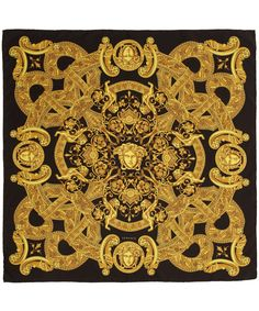 Versace Black and Gold Silk Scarf in Yellow (black) | Lyst