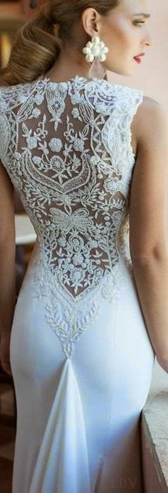 the lace is pretty.. but the placement of the trane.... looks like she is pooping fabric