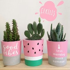 Thanks a lot La Planta for sharing this beautiful photo with the plant co… Modern is part of Diy flower pots Thanks a lot La Planta for sharing this beautiful photo with the plant c - Painted Plant Pots, Painted Flower Pots, Decoration Plante, Concrete Pots, Cement Planters, Concrete Crafts, Diy Garden Decor, Garden Decorations, Garden Ideas