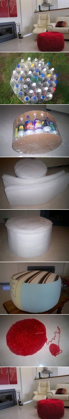 Make an easy DIY ottoman from recycled plastic bottles Industry Standard Design Plastik Recycling, Diy Projects To Try, Craft Projects, Craft Tutorials, Free Tutorials, Home Crafts, Diy And Crafts, Diy Ottoman, Ottoman Ideas