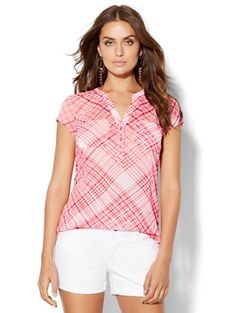 Shop Soho Soft Shirt - Plaid . Find your perfect size online at the best price at New York & Company.