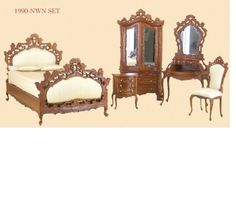 victorian dollhouse miniatures | Bespaq Dollhouse Miniature victorian bedroom furniture set bed walnut ...