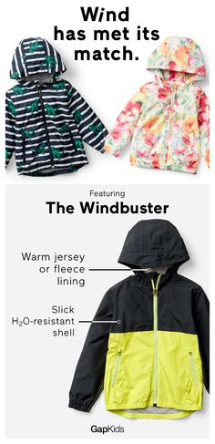 """""""The Windbuster jacket = tops for keeping you toasty. Stay warm with its: 1. water-resistant shell 2. super-warm lining."""""""