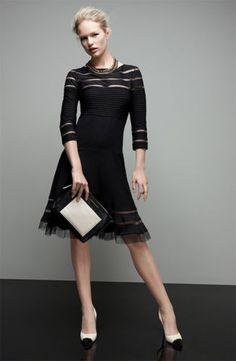 Tadashi Shoji Mesh Stripe Fit Flare Dress Black M Elegant   eBay