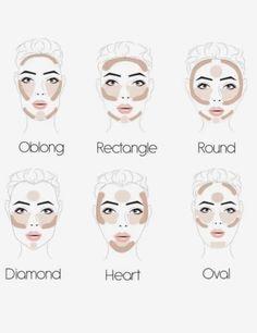 Contour Square Face, Face Shape Contour, Contour For Round Face, Round Face Makeup, How To Contour Your Face, Makeup For Square Face, Make Up Round Face, Contour Heart Shaped Face, Highlight Face