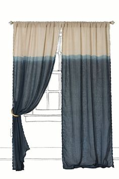 "Ok, I bought Navy Blue RIT dye on clearance ($.87) the other day with something like this in mind for my dropcloth living room curtains I am going to make...then I go on to Anthropologie today and here they are! WHAT! I actually thought I was being so creative! Now, mine will be considered a ""knock-off""!"