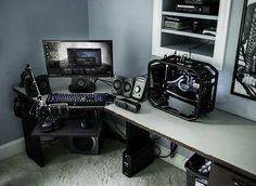 Awesome Gaming PC Setup - Best Gaming PC Setup - Rate this setup! Gaming Pc Parts, Gaming Pcs, Gaming Room Setup, Pc Setup, Gaming Rooms, Simple Computer Desk, Computer Desk Setup, Computer Workstation, Computer Technology