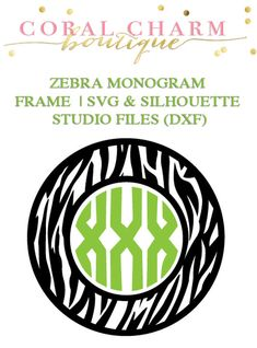 This is for a zebra monogram frame graphic in two file formats: SVG and DXF (which is compatible with the basic Silhouette Studio program -- Silhouette Vinyl, Silhouette Cameo Projects, Silhouette Machine, Silhouette Design, Silhouette Studio, Cricut Monogram, Monogram Fonts, Monograms, Vine Monogram