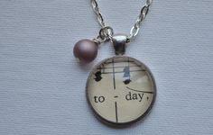 Music Note Necklace from Vintage Sheet Music TODAY by www.kraftykash.net $23.00 #handmade #jewelry