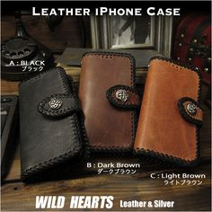 Please make your choice from three colors. Genuine Leather Wallet Card Holder Cover Flip Case for iPhone Horsehide 3 Colors WILD HEARTS Leather&Silver Iphone Flip Case, Iphone 6, Iphone Cases, Iphone Leather Case, Leather Wallet, Black B, Wild Hearts, Card Wallet, Cowhide Leather