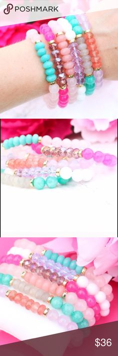 Ariel Sky Crystal Beaded bracelet Pre buy sale: What a color crush! Beautiful pastel and gold accent bracelet that stretches to fit all sizes. Handcrafted and designed with love in the USA  This listing is for the fuchsia bracelet. As soon as the bracelets come in the mail I will ship. Jewelry Bracelets