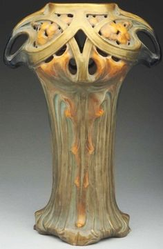 Highly Stylized Austrian Art Nouveau Ceramic Vase