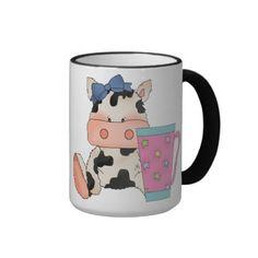 Coffee Cow Cartoon Animal mug On the back it says Addicted to coffee!
