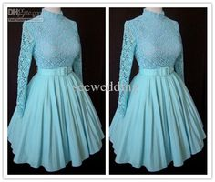 Wholesale Hot Vintage 1960s A Line Long Sleeves High Collar Lace Chiffon Short Prom Dresses Party Dresses 2012, Free shipping, $100.8-123.2/Piece | DHgate