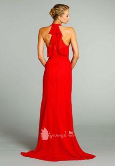 $174 back, candy apple chiffon draped halter neckline floor length a line bridesmaid dress