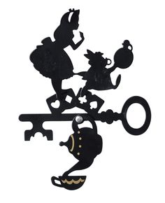 Alice and Rabbit on a key silouette